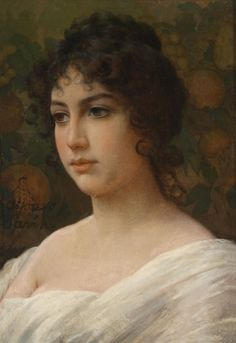 Portrait of a Girl. Alfonso Savini (Italian, 1836-1908). On the reverse inscribed Maria Lavinia figlia on an old label, and on a second label Associazione degli artisti italiani - Firenze. Oil on canvas. Savini was a painter of portraits, flowers and genre subjects. Savini's subjects were mostly of 18th Century costume, small in size, and extremely highly detailed.