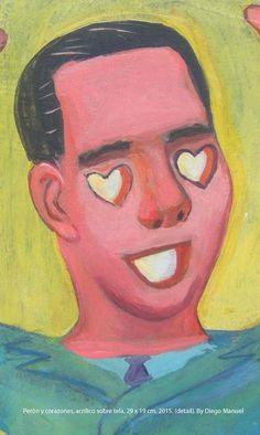 Perón y corazones. Cuadro de la Serie Historia Argentina hecho por Diego Manuel
