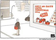 Only 387 Days until Christmas It's only a matter of time before holiday deals start lapping themselves. Days Before Christmas, Christmas 2014, Christmas Humor, Christmas Shopping, Christmas Cards, Customer Lifetime Value, Thought Bubbles, Holiday Deals, Cool Cartoons