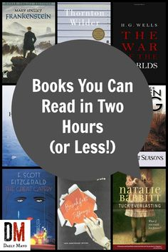 Need a short book to read? These books you can read in two hours all have fewer than 180 pages and can be read in two hours or less.