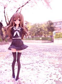 "☄★○ collectible anime figures ~ like 2D come to life ♥ ""Toradora"" figure - in nature - sakura - cherry blossom - anime girl - seifuku - sailor school uniform - kawaii ○★☄"