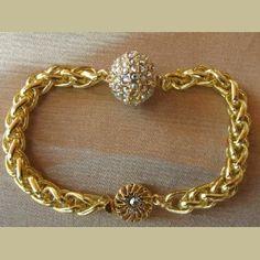 Bracelet boule Cristal de Swarovski plaqué or