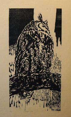 Mother Owl handmade woodblock print limited edition by Alfred Stark (alfredstark). $100.00, via Etsy.
