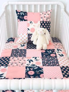 Floral nursery bedding baby girl blanket crib bedding floral nursery decor blush pink navy blue and Quilt Baby, Baby Quilt Patterns, Baby Girl Quilts, Baby Girl Blankets, Girls Quilts, Baby Quilt For Girls, Pink Crib Bedding, Nursery Bedding, Nursery Decor