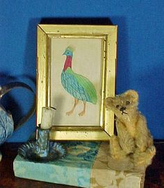 Antique Miniature Watercolor Painting in Gilt Frame Schoolboy