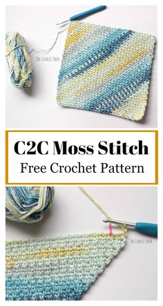 C2C Moss Stitch Free Crochet Pattern #freecrochetpatterns