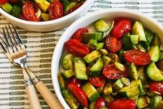 Cucumber, Tomatoe, Onion, Avacodo, Balsamic Vinegar Salad! Also made this tonight & it was delish...nice & refreshing...perfect for this time of year when the produce is in season! ~MH