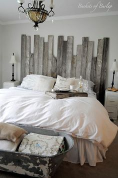 Rustic Romantic Master Bedroom, With soft gray walls and a DIY recycled headboard, this master bedroom has a rustic, yet romantic feel., rustic headboard made with recycled barn wood and cowboy tub at the end of bed. Romantic Master Bedroom, Beautiful Bedrooms, Master Bedrooms, White Bedrooms, Bedroom Simple, Pretty Bedroom, Feminine Bedroom, Romantic Bedrooms, Extra Bedroom