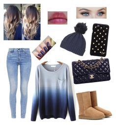 """Navy Blue Fall Outfit"" by jjfly1334 on Polyvore featuring G-Star, UGG Australia, Chanel, Diane Von Furstenberg and Topshop"
