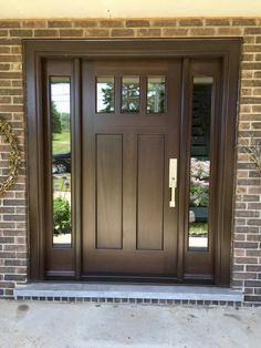 Here is a sampling of our hand made Side Light Entry Doors. More designs are available and we can also help create your own custom design. Craftsman Exterior Door, Exterior Doors With Sidelights, Craftsman Porch, Craftsman Front Doors, Double Doors Exterior, Brown Front Doors, Front Door Entryway, Front Doors With Windows, House Front Door