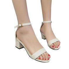 6a99e23899 US $4.68 15% OFF|mokingtop summer sandals for women Fashion Ladies Sandals  Ankle Mid Heel Block Party Open Toe Shoes women sandals ##-in Middle Heels  from ...