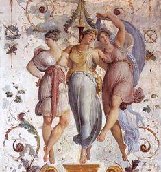 The Three Graces - Les Trois Grâces - Charites - 1817 Francesco Hayez (Italian Romanticism; Wall Painting Decor, Art Decor, Grisaille, Classic Paintings, Arabesque, Romanticism, Ancient Rome, Thalia, Painting Techniques