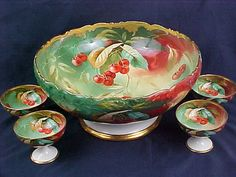1905 Limoges Punch Bowl Stouffer Cherries Decor Signed w 4 Cups | eBay