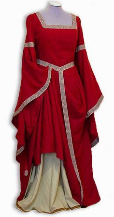 Custom-made Medieval dress Iseult with wide sleeves, back lacing and belt - gewandfantasien.de