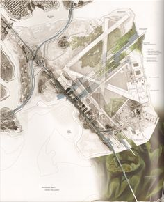 Gateway Map. I love the use of topography lines, variably faded black and white aerial images, and color highlights.