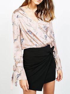 #AdoreWe #JustFashionNow Shirts & Blouses❤️Designer yinbo Taking Chances Pink V Neck Sleeve Floral Blouse - AdoreWe.com