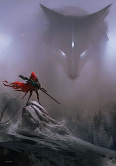 Big Bad Wolf (Sci-Fi reimagining of 'Little Red Riding Hood') by Kirk Quilaquil Dark Fantasy Art, Fantasy Kunst, Fantasy Artwork, Wolf Artwork, Fantasy Love, Fantasy Girl, Anime Kunst, Art Anime, Wolf Craft