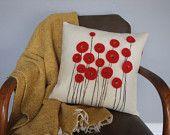 Items similar to Red Poppy Wool Felt Pillow on Etsy
