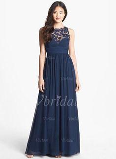 Bridesmaid Dresses - $142.66 - A-Line/Princess Scoop Neck Floor-Length Chiffon Bridesmaid Dress With Lace (0075098552)