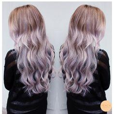 Lila ombre Lilac purple Ashy silver pastel