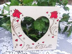 Rustic Wedding or Valentine Rose Picture Frame by WildFireFlies,