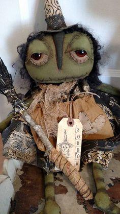 Primitive Sorrow Witch Halloween Witch Broom Grungy Handmade Decoration #NaivePrimitive #UrbanHandmade