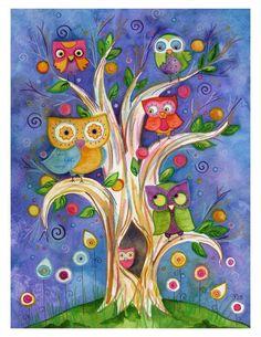 All Together Now 8.5x11 Archival Owl Art door LaurenAlexander