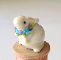 Lampwork ERNEST  Rabbit GLASS BUNNY ooak by TheGlassBunny on Etsy, $18.00