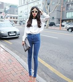 Retro Fashion High Waist Slim Pencil Jeans
