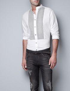 CAMISA blanca PECHERIN PLISADO de hombre. White shirt for men. chemise blanche de l'homme  https://www.facebook.com/bagatelleoficial Bagatelle Marta Esparza #chemise #blanche #homme