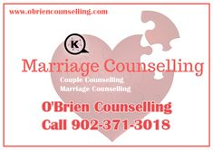Couples counselling sessions with the help of a professional marriage counsellor are only a phone call away - O'Brien Counselling Services in Sydney Nova Scotia at 902-371-3018 | kobriencounselling@gmail.com   When it becomes increasingly difficult for married couples or partners to find ways to work their problems out, this is where is where you need to seek out the help of a marriage counsellor!  #therapist #marriagecounsellor #couplescounselling