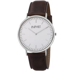 August Steiner Men's Conrad Ultra-Slim Japanese Quartz Leather Strap Watch   Overstock™ Shopping - Big Discounts on August Steiner August Steiner Men's Watches