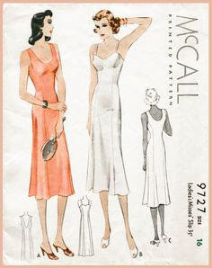 lingerie pattern, elegant and simple slip dress with spaghetti strap or wider sleeveless strap variations. Princess seams and slightly flared hem. Vintage Outfits, Vintage Dresses, Vintage Fashion, 1930s Fashion, Vintage Clothing, Lingerie Vintage, Sewing Lingerie, Motif Vintage, Vintage Dress Patterns
