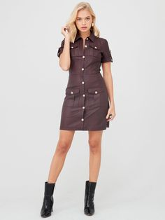 River Island River Island Faux Leather Shirt Dress-Oxblood in Dark Red Leather Shirt Dress, Housecoat, High Leg Boots, Oxblood, Long Toes, Dress Outfits, Dresses, Short Skirts, Latest Fashion