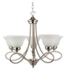 """Rianto 5-Light 22"""" H Brushed Nickel Chandelier.   Model Number: 13555 
