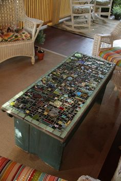 old farm table with a new mosaic top by spudrick Mosaic Diy, Mosaic Garden, Mosaic Crafts, Mosaic Glass, Mosaic Tiles, Mosaics, Stained Glass, Mosaic Designs, Mosaic Patterns