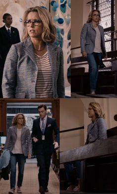 Love this outfit from Madame Secretary. Colors, pattern combo, jeans and shoes.