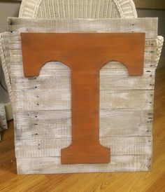Tennessee power T sign, white wash on pallet wood. Hand Crafted from Rustic Flair by Lee Morris