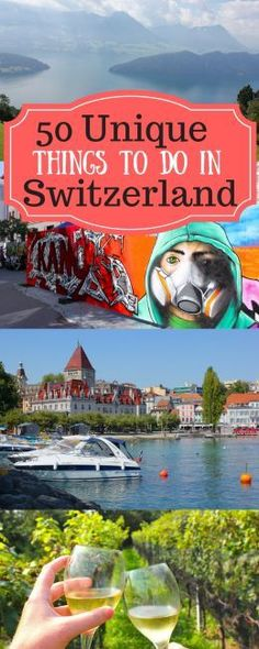 Lots of fun things to do in Switzerland. You don't have to do them all, find the ones that speak to you. 50 Things To Do in Switzerland. Travel Jobs, Ways To Travel, Europe Travel Tips, Best Places To Travel, European Travel, Places To See, Travelling Europe, Simplon Orient Express, Switzerland Vacation