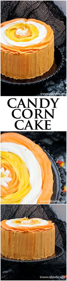 Candy corn cake... a fun cake to serve on Halloween! It's so easy to make, if you follow my step-by-step tutorial. From cakewhiz.com
