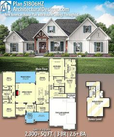 New American House Plan with Volume Ceilings Throughout Architectural Designs Home Plan gives you 3 bedrooms, baths and sq. Ready when you are! Where do YOU want to build? Architectural Designs Home Plan gives you 3 bedrooms, baths and sq. Family House Plans, Ranch House Plans, Craftsman House Plans, Country House Plans, New House Plans, Dream House Plans, The Plan, How To Plan, Modern Farmhouse Plans