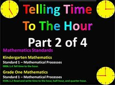 Telling time to the hour for grades Part 1 of 4 First Grade Math, Grade 1, Time To The Hour, Time Clock, K 1, Telling Time, Teaching Math, Mathematics, Classroom