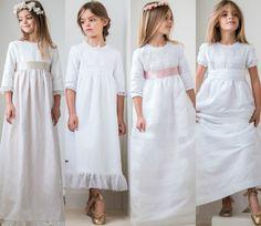 Las nuevas tendencias en vestidos y trajes de la Primera Comunión 2015 Little Girl Gowns, Gowns For Girls, Girls Dresses, First Communion Dresses, Baptism Dress, Elegant Dresses, Nice Dresses, Baby Dress, Dress Up
