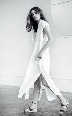 white shirt dress + mandarin collar + slits + mid length + midi / maxi Minimal Chic  || @sommerswim