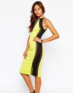 Oh My Love High Neck Bodycon Dress With Mesh Panels