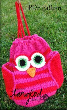 Owly Drawstring Backpack Crochet Pattern.
