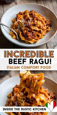 Red Wine Pasta Sauce, Ragu Recipe, Homemade Ravioli, Italian Dinner Recipes, Italian Beef, Rustic Kitchen, How To Cook Pasta, Kitchen Hacks, Sauce Recipes