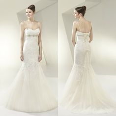 Free Shipping Hot Selling Sweetheart Spaghetti Straps Floor-Length Court Train Backless Appliques Wedding Dresses Romantic EMS