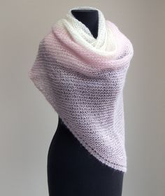 Hand Knit Mohair Silk Shawl Scarf Wrap, Lace, Pale Pink White, Summer, Wedding, Prayer Meditation Comfort, by PeacefulPath on Etsy