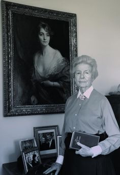 Deborah, aged 90, at the Old Vicarage 2010, under the portrait of Muv (her mother, Sydney) painted by Philip de Laszlo in 1916 - four years before Debo was born